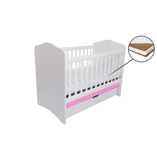Patut Como cu sertar alb cu roz + saltea Cocos 7 cm