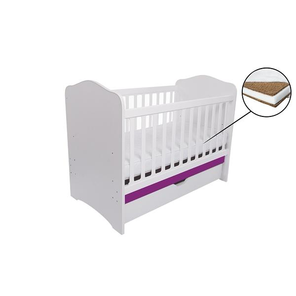 Patut Como cu sertar alb cu violet + saltea cocos 10 cm