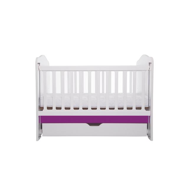 Patut Como culisant cu sertar alb cu violet + saltea cocos 10 cm
