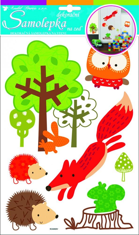 Sticker de perete Room Decor animale din padure 35x21cm