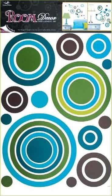 Sticker de perete Room Decor cercuri colorate 69x42cm