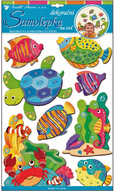 Sticker de perete 3D Room Decor Animale din ocean 50x30 cm