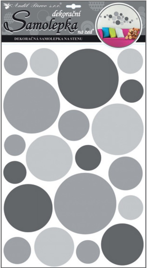 Sticker de perete Room Decor cercuri gri 60x32cm