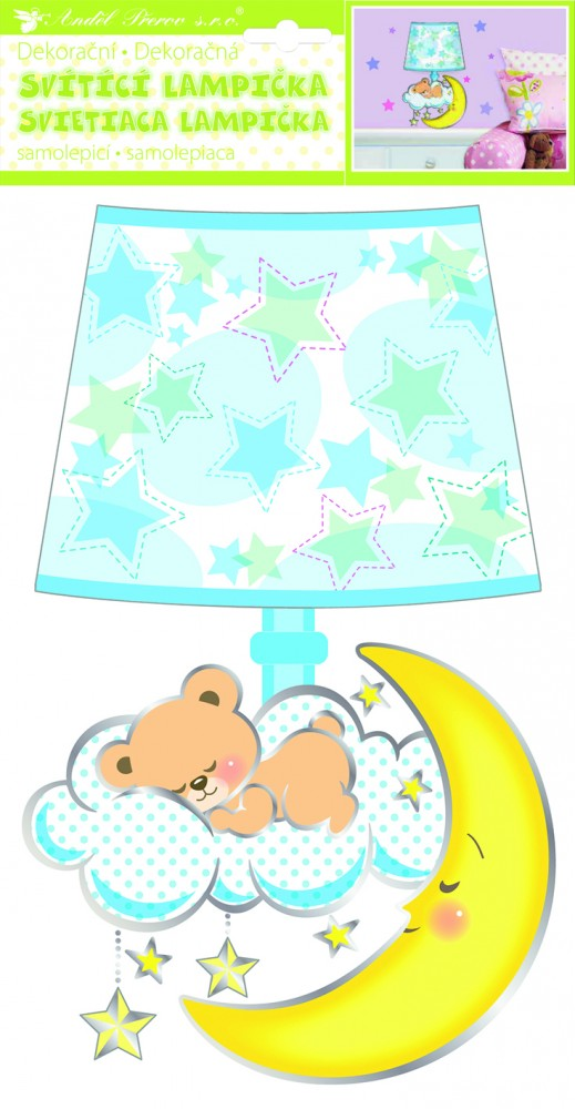 Sticker de perete Room Decor ursulet cu lampa 40x21cm