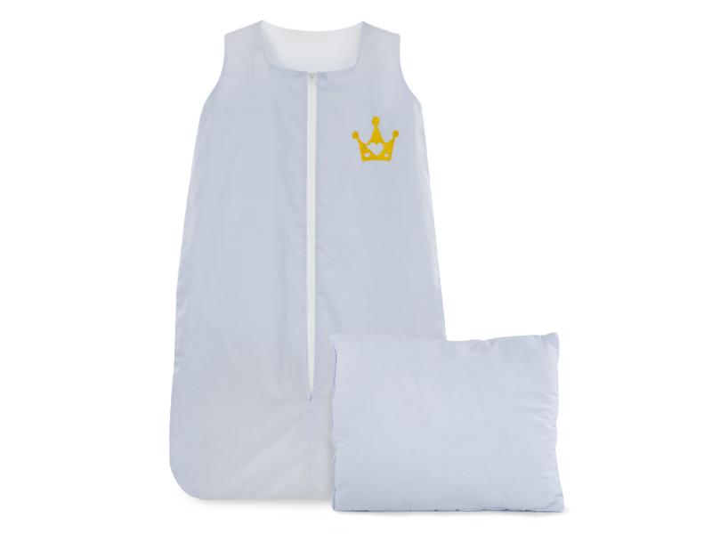 Sac de dormit cu pernita cadou 100x60 cm broderie Prince Albastru