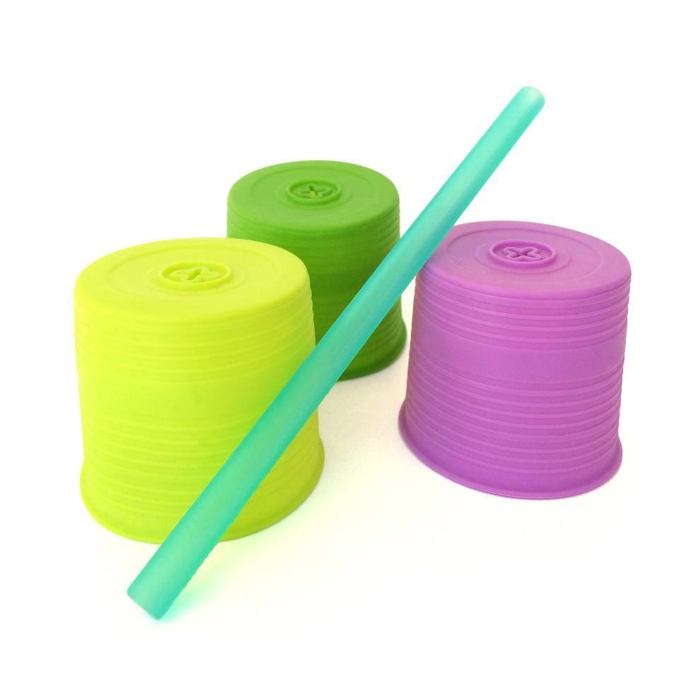 Set 3 capace universale silicon cu pai LimePurple Green