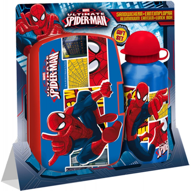 Set cutie si recipient apa Spiderman