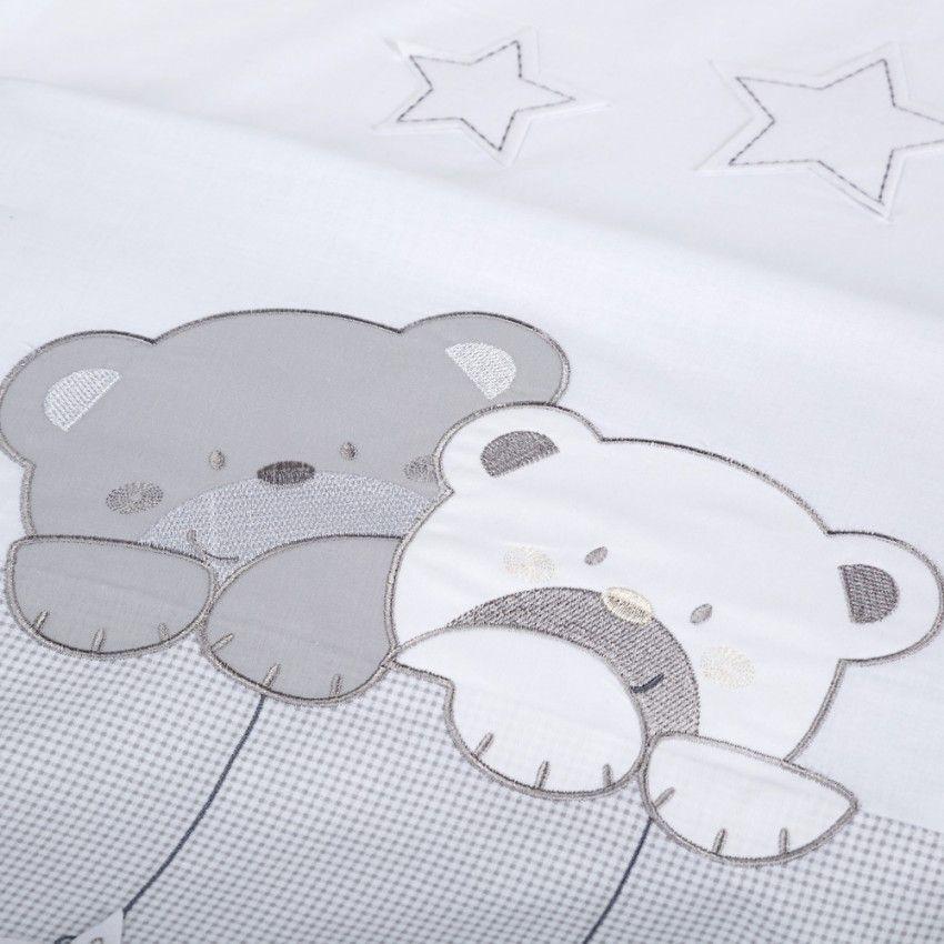 Set lenjerie brodata 3 piese Klups Star Dream alb-grey