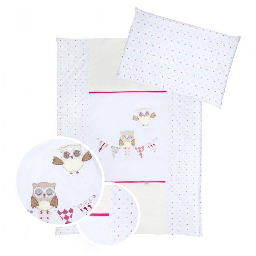 Set lenjerie brodata 5 piese Klups Night Birds - pink