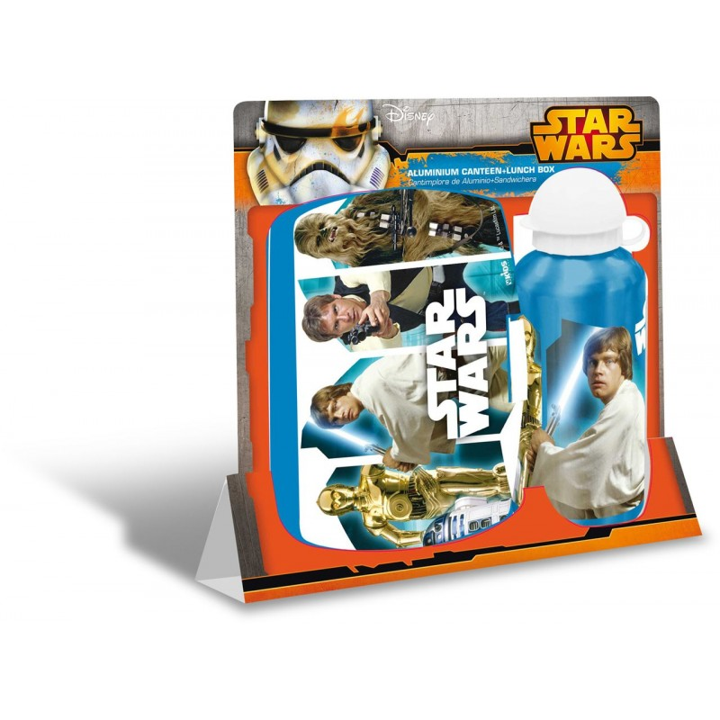 Set recipient apa Al 500ml si cutie pranz Star Wars bleu