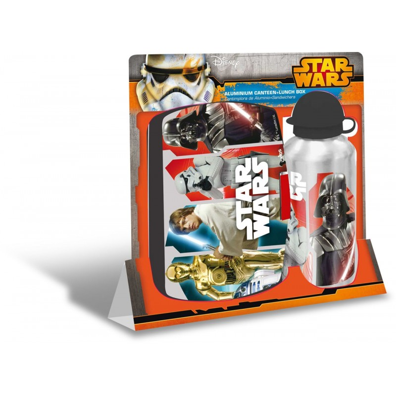 Set recipient apa Al 500ml si cutie pranz Star Wars gri