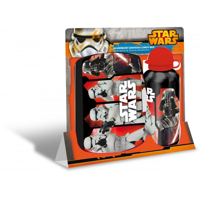 Set recipient apa Al 500ml si cutie pranz Star Wars rosu imagine