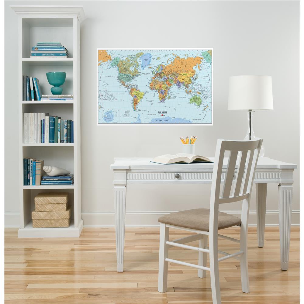 Sticker decorativ cu harta lumii WallPops Dry Erase World
