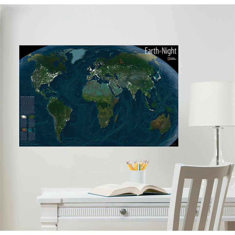 Sticker decorativ fosforescent WallPops Earth at night Glow in the dark
