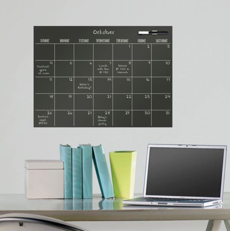 Sticker decorativ tabla de scris Wallpops Dry Erase Calendar