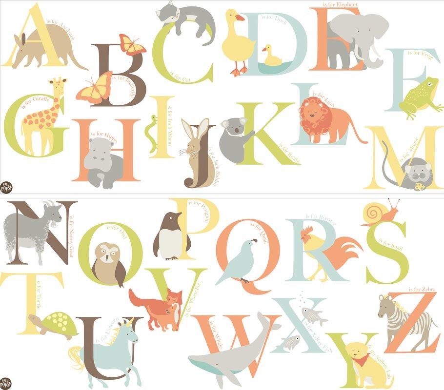 Stickere decorative alfabet cu animalute WallPops Alphabet Zoo
