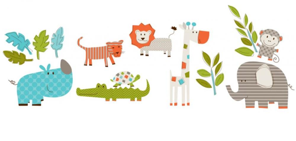 Stickere decorative cu animalute WallPops Lets go on safari