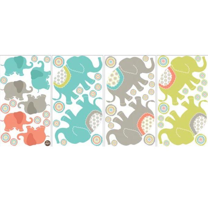 Stickere decorative cu elefantei WallPops Tag Along Elefants