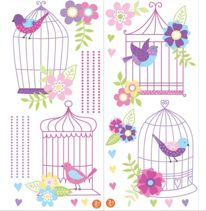Stickere decorative cu pasarele WallPops Chirping the day away