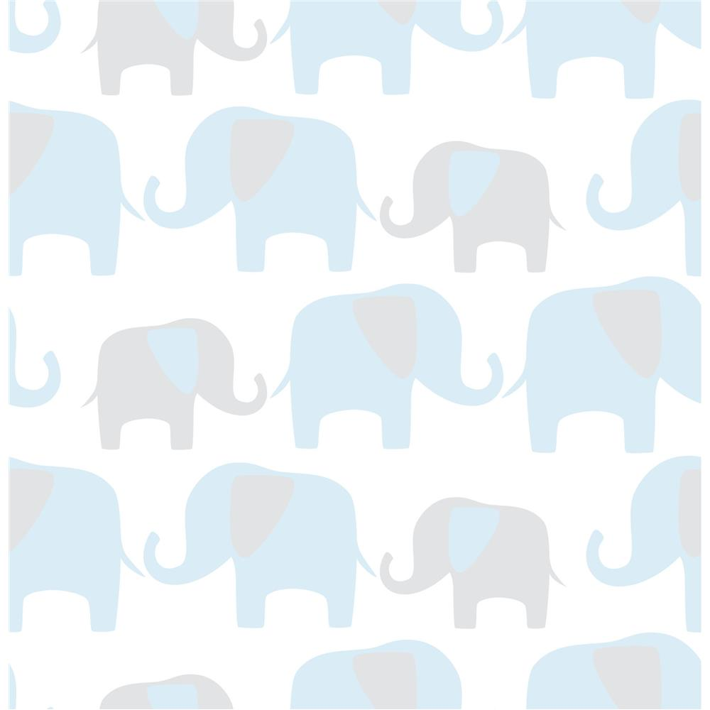 Tapet din vinil cu elefantei WallPops Blue Elephant Parade
