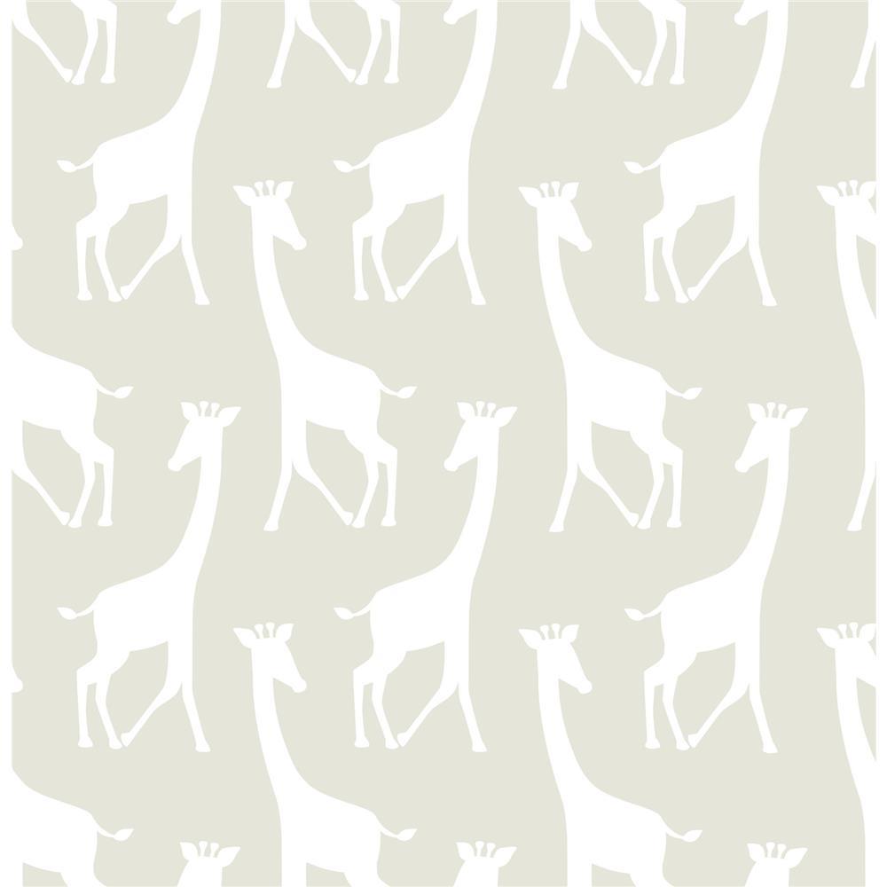 Tapet din vinil cu girafe WallPops Taupe Savannah Soiree