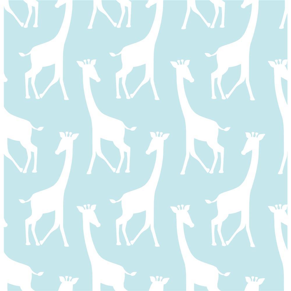 Tapet din vinil cu girafe WallPops Turquoise Savannah Soiree