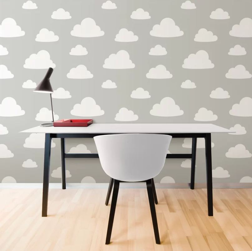 Tapet din vinil cu norisori WallPops Clouds Grey