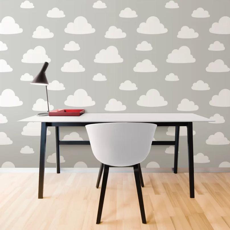 Tapet din vinil cu norisori WallPops Clouds Grey