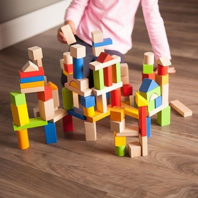 Cuburi din lemn 50 buc Tooky Toy