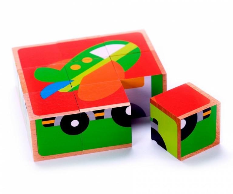 Cuburi puzzle mijloace de Transport Tooky Toy