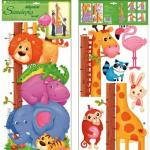 Sticker de perete cu masurator inaltime Room Decor animale 70x32cm
