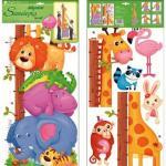 Sticker de perete cu masurator inaltime Room Decor animale 70x32cm