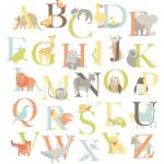 Stickere decorative alfabet cu animalute WallPops Alphabet Zoo