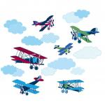 Stickere decorative cu avioane WallPops Mighty Vintage Planes