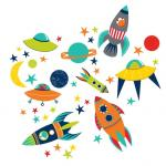 Stickere decorative cu rachete WallPops Blast Off
