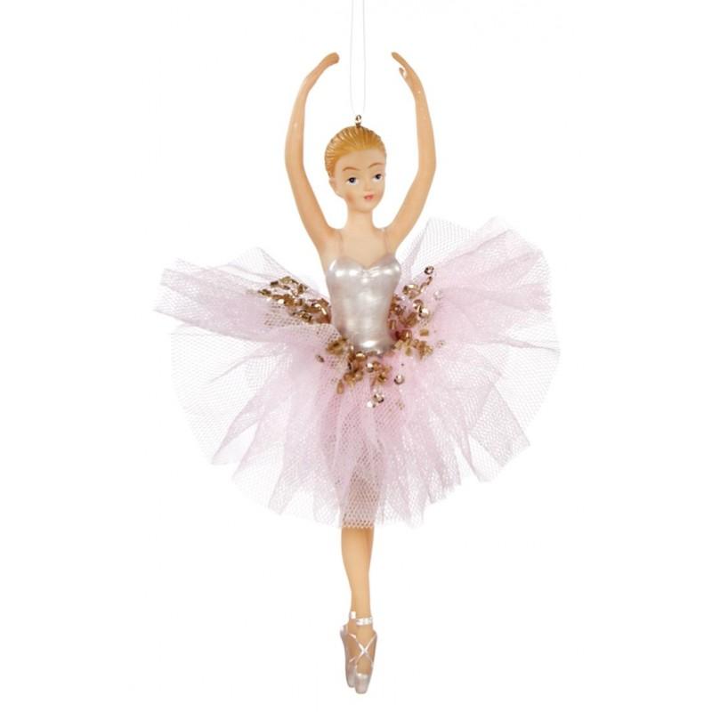 Balerina decorativa cu rochie textila tiul