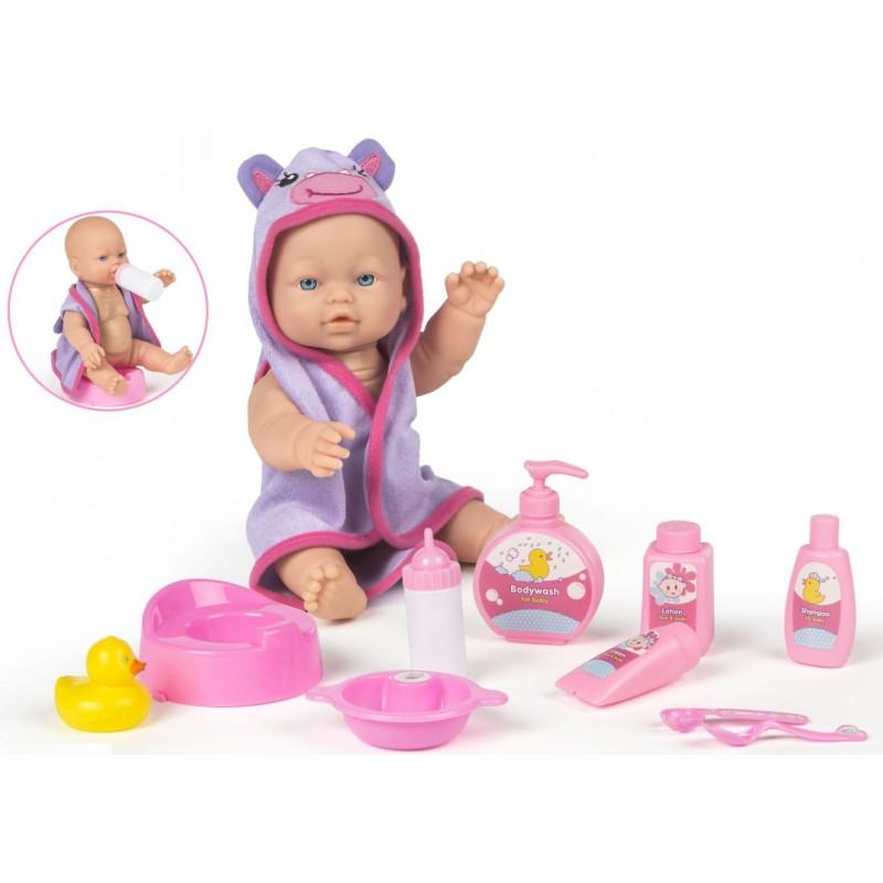 Bebelus cu biberon olita si accesorii baie