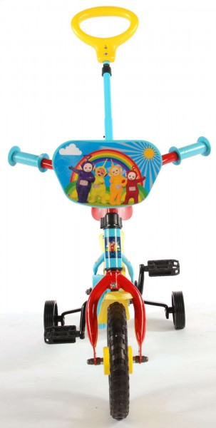 Bicicleta 10 inch cu roti ajutatoare si maner Teletubbies