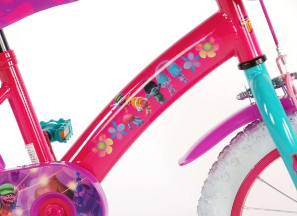 Bicicleta pentru fete 14 inch cu scaun pentru papusi roti ajutatoare si cosulet Trolls