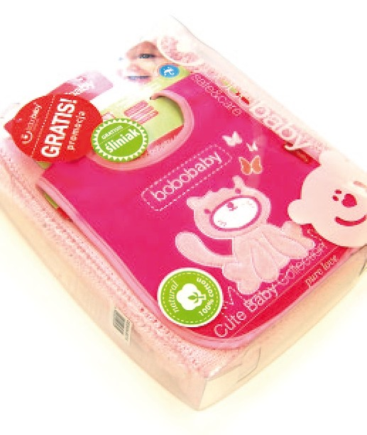 Set cadou Paturica bumbac si bavetica in cutie roz