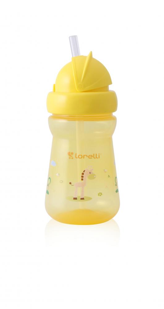 Cana mini sport cu pai 200 ml Animals Yellow