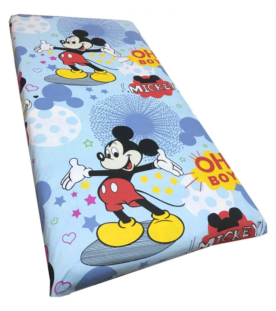 Cearsaf cu elastic roata 120x60 cm Mickey Mouse