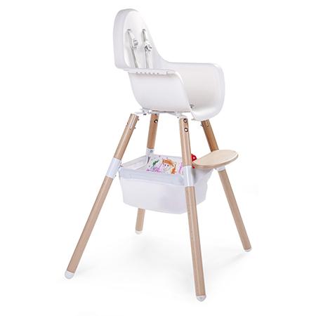 Cos de jucarii alb pentru scaun de masa Evolu 2