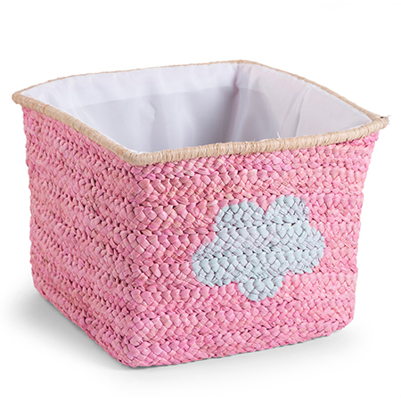 Cos de jucarii impletit 30x33x33cm Pink Star Cloud imagine