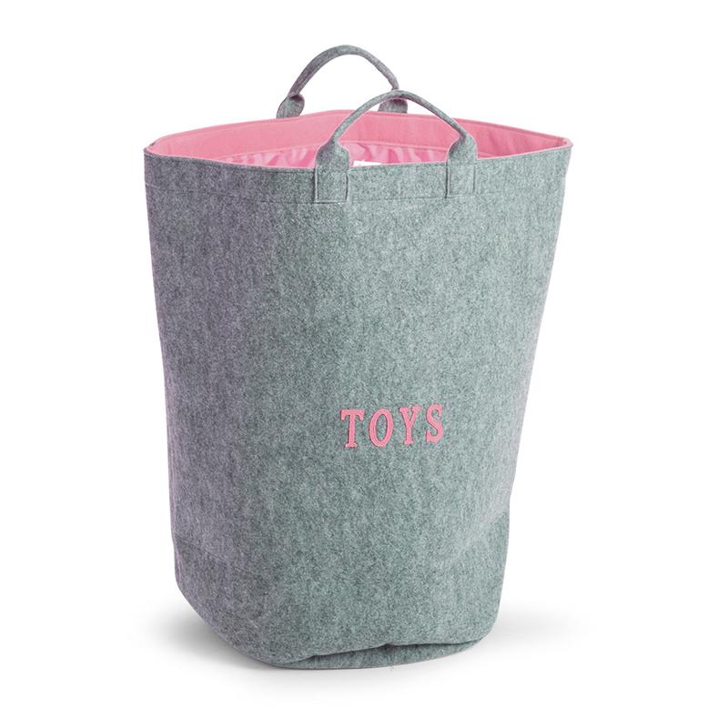 Cos depozitare jucarii gri roz din felt 40x40x60cm