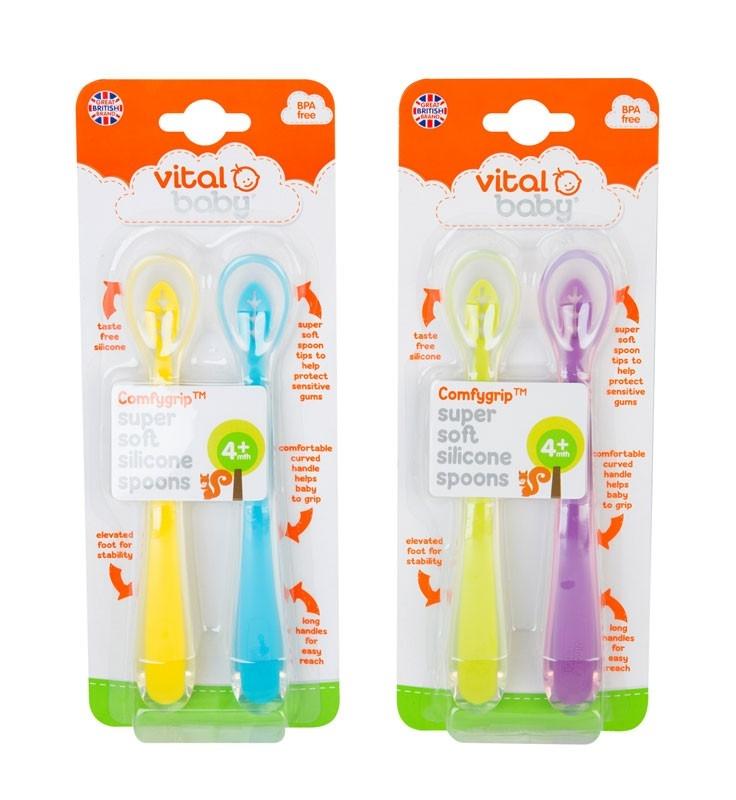 Lingurite din silicon SuperSoft 2 bucati pentru fete Vital Baby