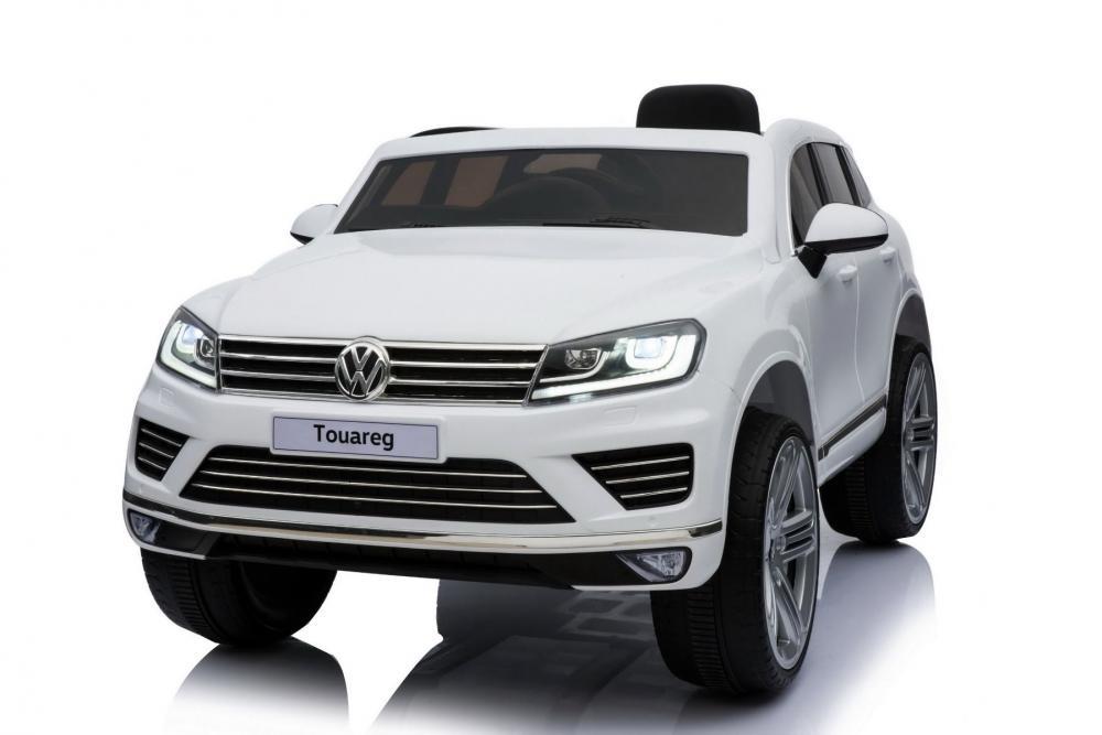Masinuta electrica cu roti eva si telecomanda 2.4 G VW Touareg Alb