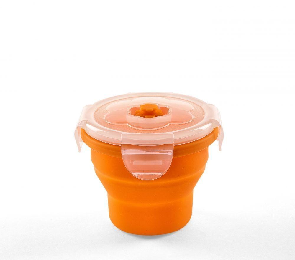Recipient pliabil din silicon pentru hrana 230 ml Nuvita 4466 Portocaliu