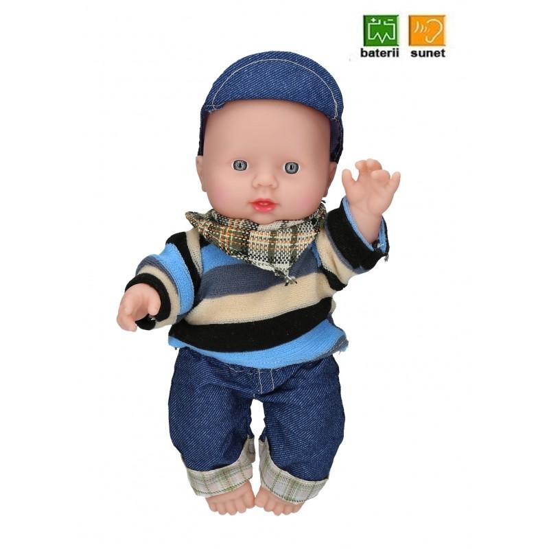 Papusa bebelus baietei cu sunet 26 cm