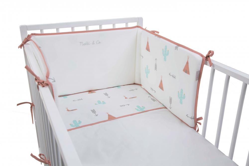 Protectie laterala patut bebe 35x170cm Dreamy Tipi